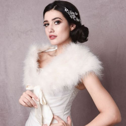 Vintage marabou feather shrug, wedding wrap